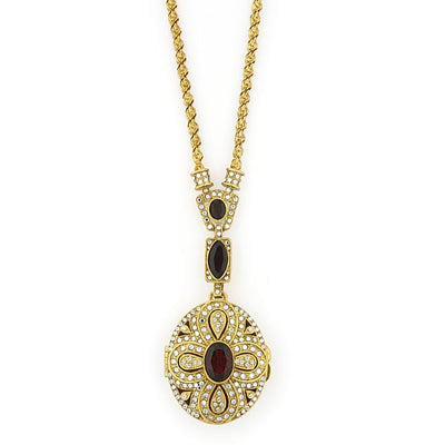Gold-Tone with Red and Crystal Oval Locket Pendant 32