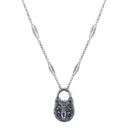 Antiqued Pewter Lock Pendant Necklace 30 In
