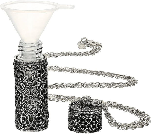 1928 Jewelry Antiqued Pewter Filigree Covered 3.69 Ml Glass Vial 30 Inches