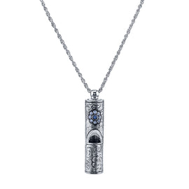 Antiqued Pewter Whistle with Crystal Accent Flower Necklace 28""