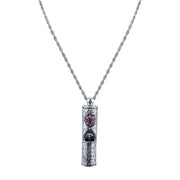 "Antiqued Pewter Whistle with Crystal Accent Flower Necklace 28"" Purple"