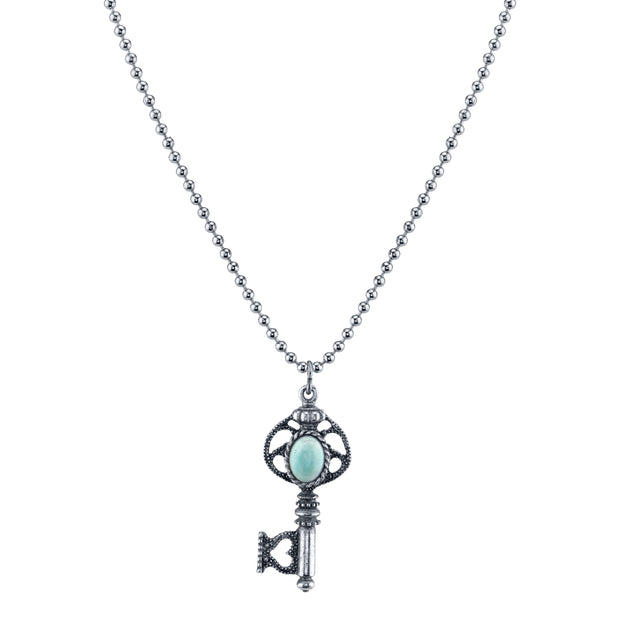 Silver Tone Turquoise Key Necklace 24 In