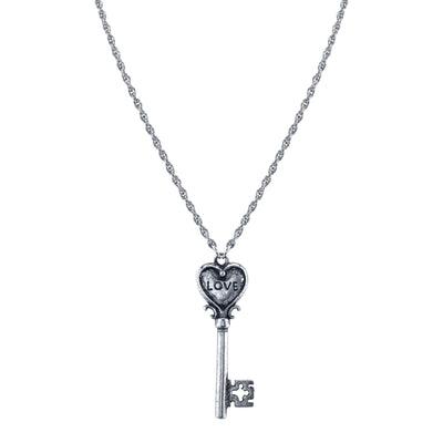 Silver Tone Love Insciption Key Necklace 28 In