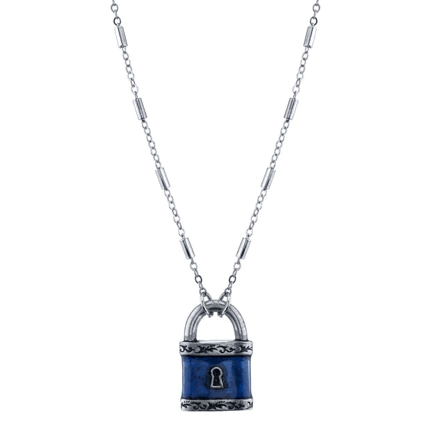 Silver Tone Emaille Paddle Lock Halskette 28 In Blau