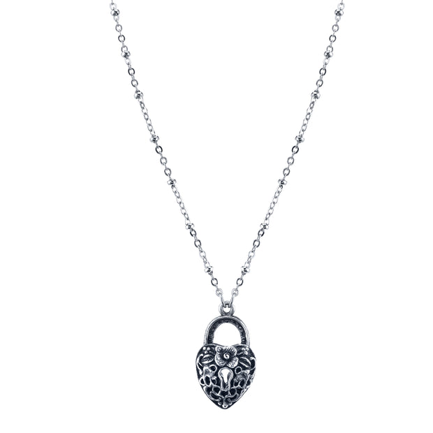 Silver Tone Heart Paddle Lock Necklace 28 In
