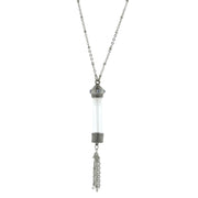 Silver Tone Glass Vial With Blue Crystal Stone Tassel Necklace 30 In