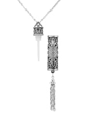 1928 Jewelry Pewter Filigree Vial With Tassel Necklace 28 Inches