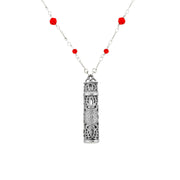 Pewter Filigree Vial With Red Beaded Chain Necklace 28 In