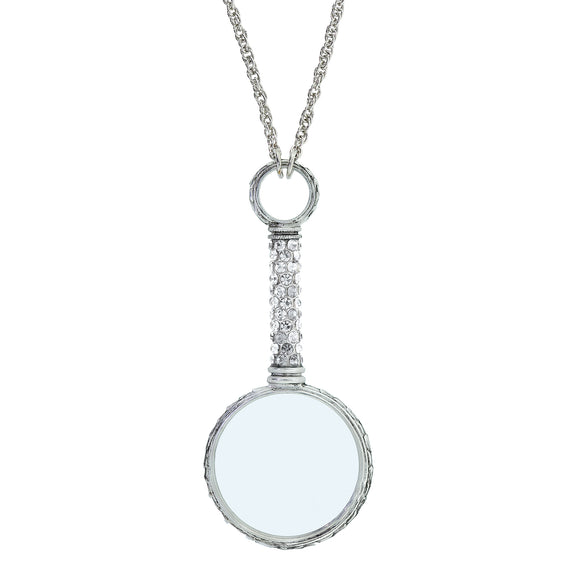 Pewter Crystal Magnifying Glass Necklace 30