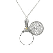 Pewter Mirror with Sliding Filigree Cover Necklace 30in