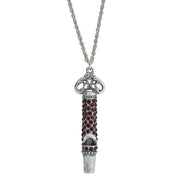 Pewter Crystal Pave Decorated Whistle Necklace Red