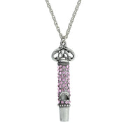 Pewter Crystal Pave Decorated Whistle Necklace