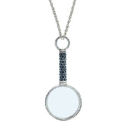Pewter Crystal Pave Magnifying Glass Necklace Dark Blue
