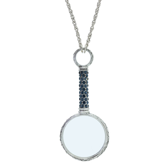 Pewter Dark Blue Pave Magnifying Glass Necklace 30