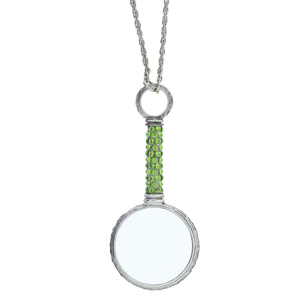Pewter Crystal Pave Magnifying Glass Necklace Green