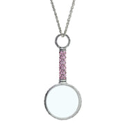 Pewter Crystal Pave Magnifying Glass Necklace Pink