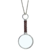 Pewter Crystal Pave Magnifying Glass Necklace Red
