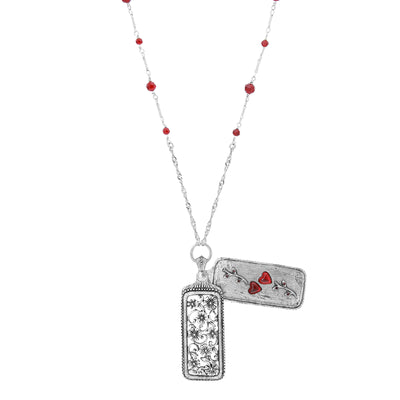 Pewter Floral Swinging Cover with Red Hearts Necklace 30 Inch