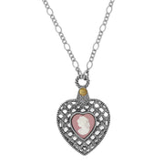 Pewter Heart with Pink Cameo Mirror Necklace 30 Inch