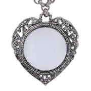 Close Up Pewter Heart with Magnifier Pendant 30""