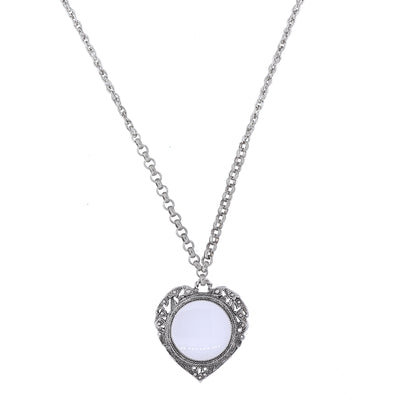 Pewter Heart with Magnifier Pendant 30""