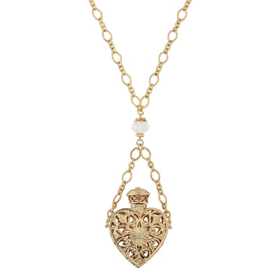 14K Gold Dipped Crystal Filigree Heart With Glass Vial Necklace 30 Inch