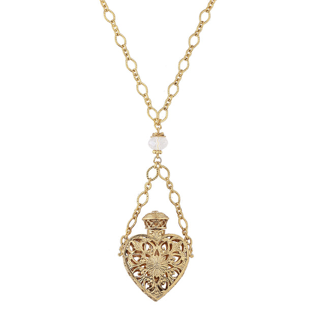 1928 Jewelry 14K Gold Dipped Crystal Filigree Heart with Glass Vial Necklace