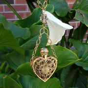 Lifestyle Crystal Filigree Heart With Glass Vial Necklace 30 Inches
