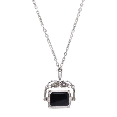 1928 Jewelry Silver Tone Rotating Square Stone and Locket Necklace 30 In