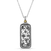 Pewter Flower Filigree Mirror Pendant Necklace 30 Inch