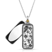 Mirror Pewter Flower Filigree Mirror Pendant Necklace 30 Inch