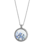 Pewter Round Glass With Blue Crystal Beads Necklace 30 In