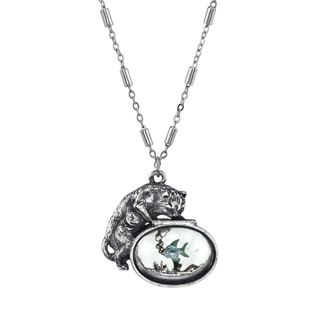 Pewter Cat w/Blue Enamel Fish in Glass Fishbowl Necklace 30 In