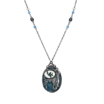 Pewter Cat With Blue Enamel Fishbowl Beaded Necklace 30 In