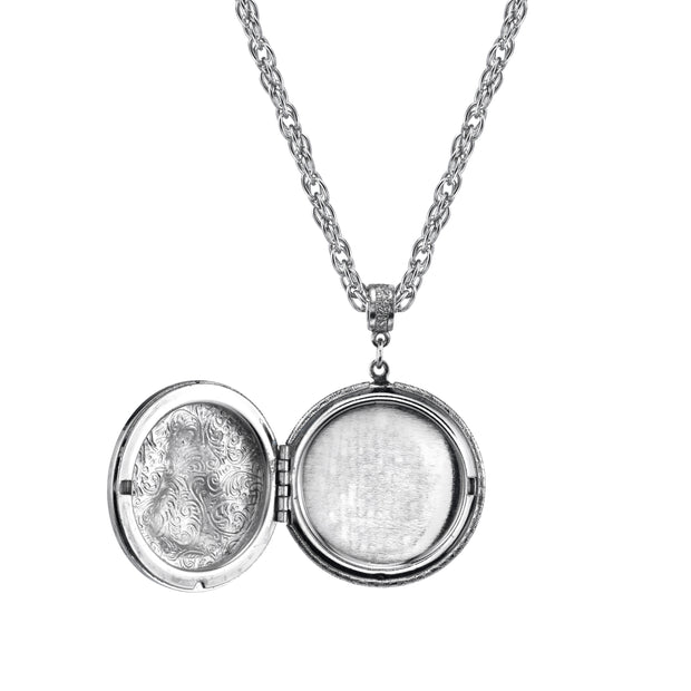 Pewter Cat Locket Necklace 30In