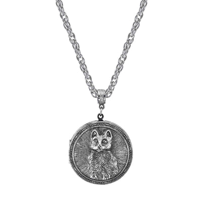 Pewter Cat Locket Necklace 30 In