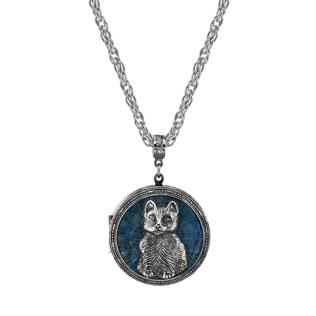 Pewter Cat Locket With Blue Enamel Necklace 30 In