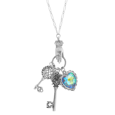 Pewter Ab Crystal Heart With Key Charms Necklace 28 In