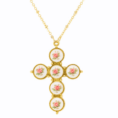 1928 Jewelry - Gold Tone Pink Flower Decal Cross Necklace 30""