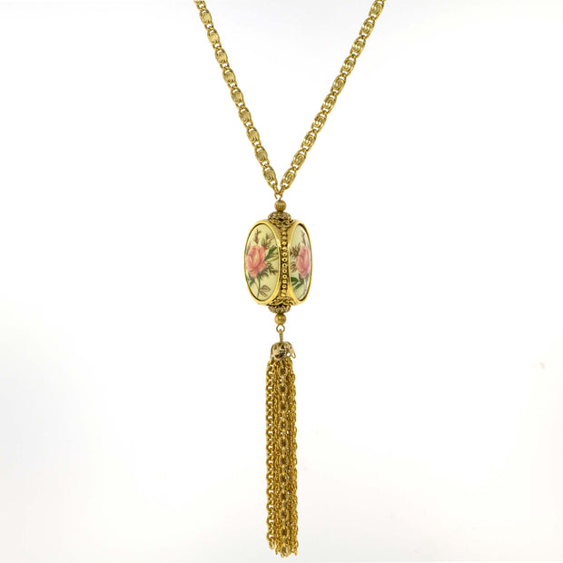 "3 Sided Spinner Tassel Necklace 30"" Gold"