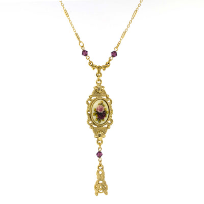 Gold Tone Pink & Purple Floral Drop Pendant Necklace 24