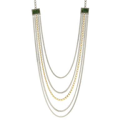 Silver & Gold Tone Jade Gemstone Multi Chain Necklace 32 In