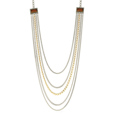 Silver & Gold Tone Tiger Eye Gemstone Multi Chain Necklace 32 In