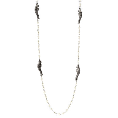 Pewter Costume Parrot Pearl Chain Necklace 36 In