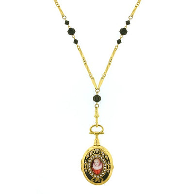 Gold-Tone Black And Crystal Black Enamel Locket Necklace 32 In