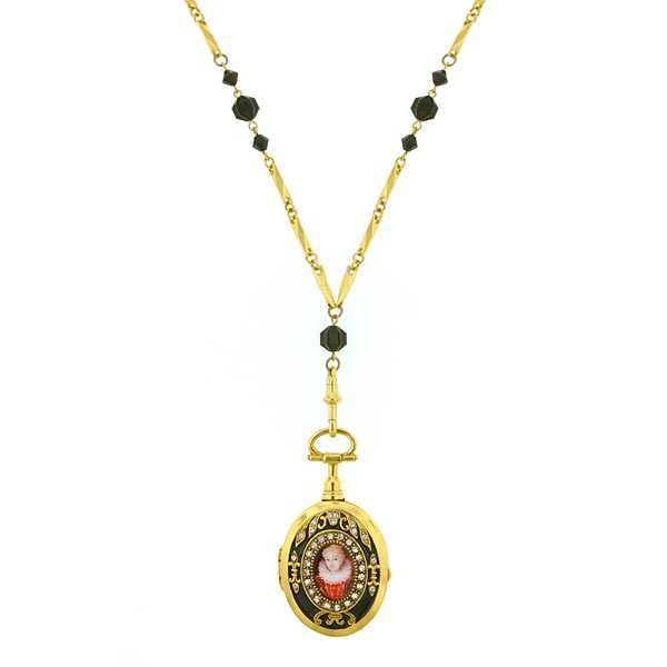 Gold Tone Black And Crystal Black Enamel Locket Necklace 32 In