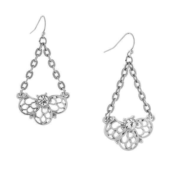 Silver Tone Crystal Filigree Drop Earrings