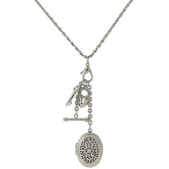 1928 Jewelry: 1928 Jewelry - Silver-Tone Locket Charm Necklace