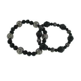 Jet Jet Beaded Double Stretch Bracelet