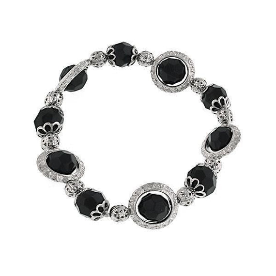 Silver-Tone Black Faceted Bead Stretch Bracelet
